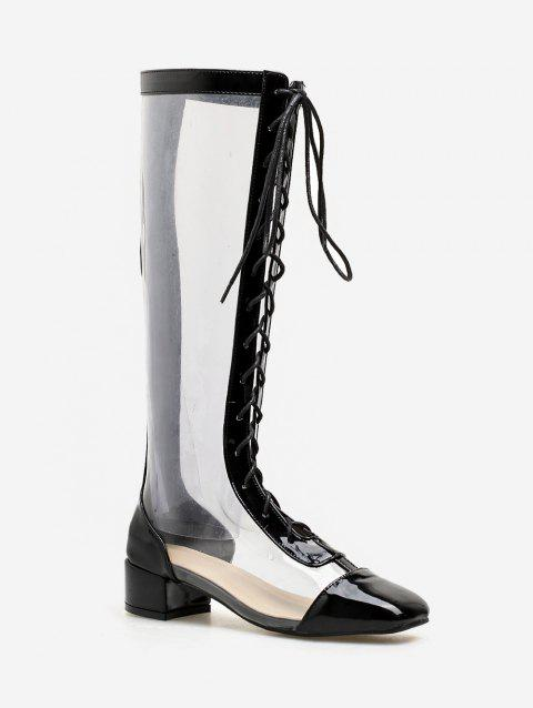 266ce82bc09 2019 Chunky Heel Lace Up PVC Transparent Mid Calf Boots In BLACK 37 ...