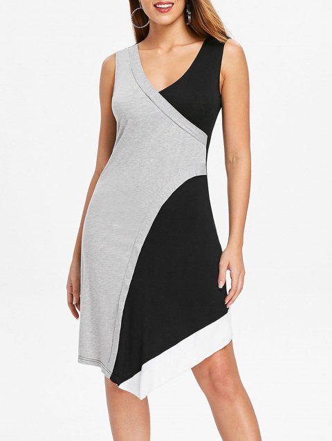 Asymmetrical Color Block Tank Dress - LIGHT GRAY 2XL