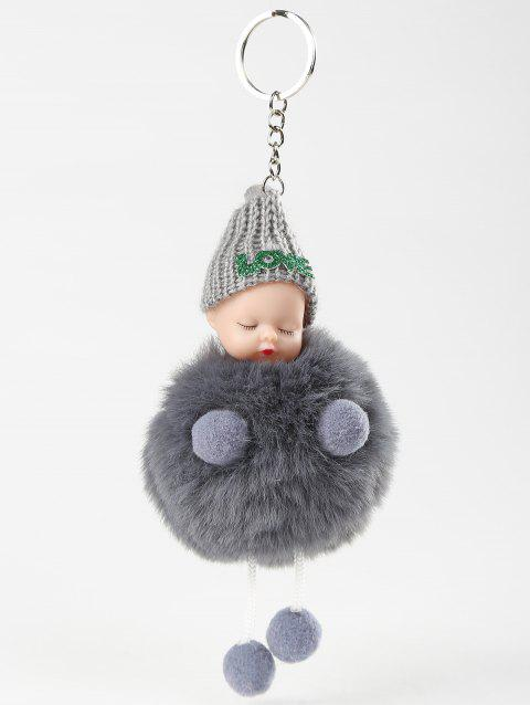 Plush Toy Sleeping Baby Key Ring - GRAY