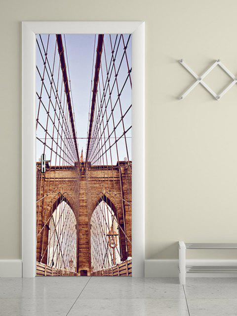 Autocollants de Porte Décoratifs à Imprimé Pont de Brooklyn - multicolor 38.5*200CM*2PCS