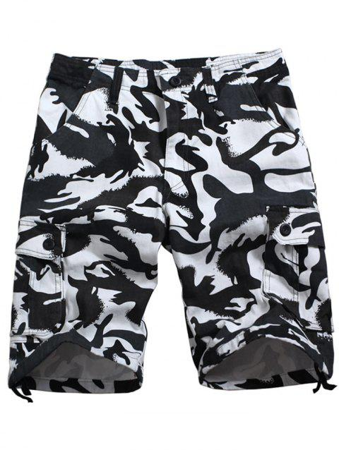 Zip Fly Camo Printed Six-pocket Cargo Shorts - SNOW CAMOUFLAGE 36