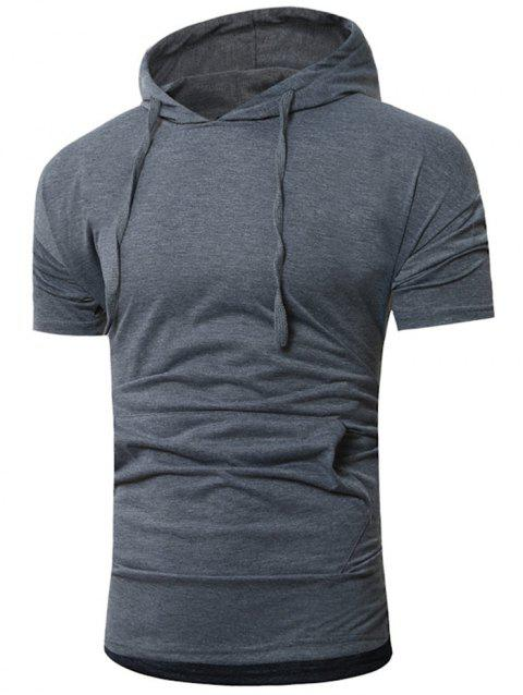 Short Sleeve Drawstring Hoodie T-shirt - DARK GRAY 2XL