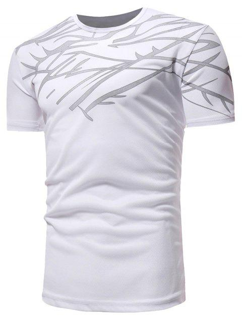 Slim Fit Irregular Figure Printed Gym Tee Shirt - WHITE 2XL