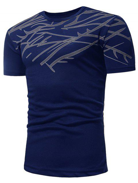 Slim Fit Irregular Figure Printed Gym Tee Shirt - CADETBLUE 2XL