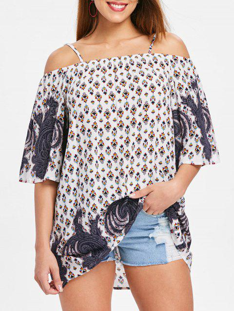 Bare Shoulder Three Quarter Sleeve Blouse - multicolor M