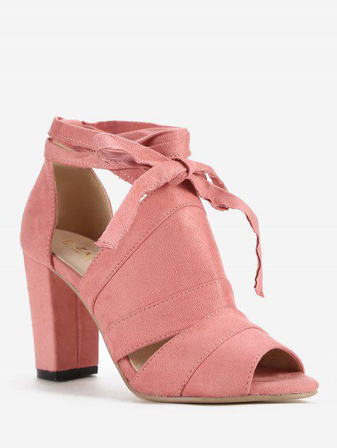 Peep Toe Lace Up Chic Sandales à talons hauts - Rose Léger 37