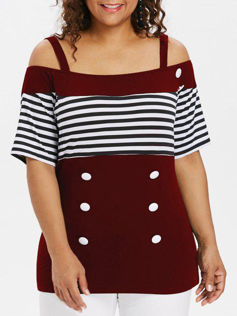 Plus Size Button Open Shoulder Tee - RED WINE 5X