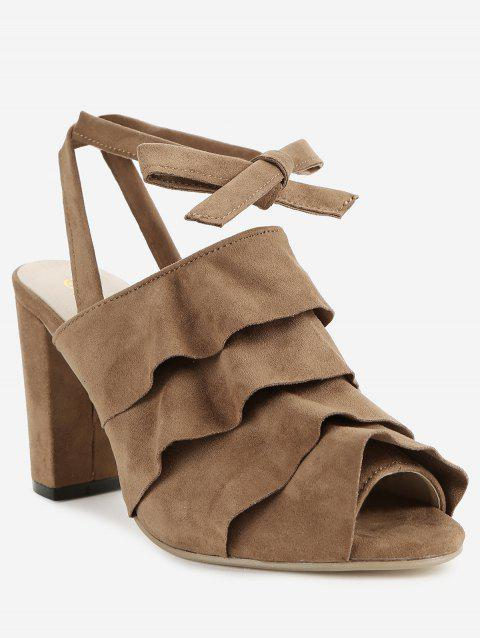 Ruffles Block Heel Backless Lace Up Sandals - DEEP BROWN 38