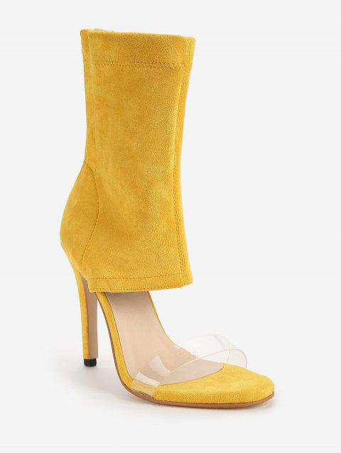 Stiletto Heel Transparent Strap Bootie Sandals - YELLOW 37