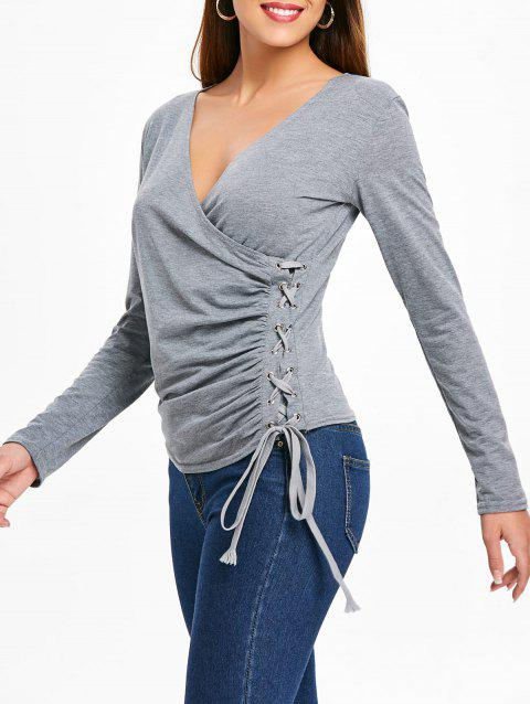 Grommet Lace Up Long Sleeve Top - GRAY L