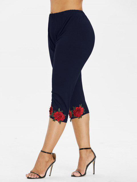Plus Size High Waisted Applique Leggings - MIDNIGHT BLUE 2X