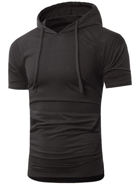 Short Sleeve Drawstring Hoodie T-shirt - BLACK L
