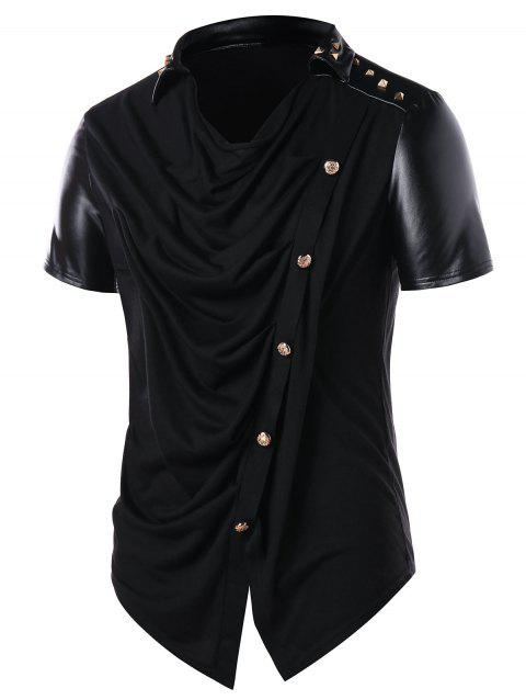 Accordion Pleat Button Embellished T-shirt - BLACK L