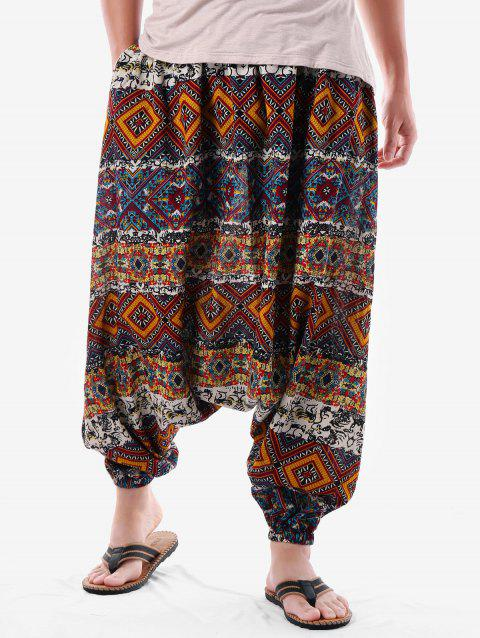 Tribal Geometric Print Harem Pants - multicolor M