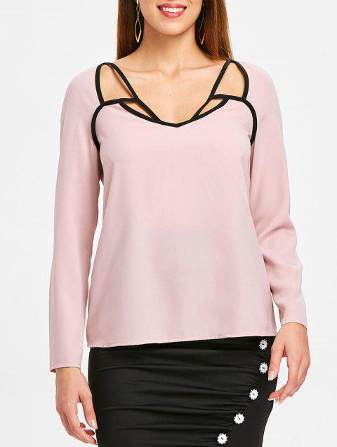 Long Sleeve Contrast Cut Out Top - LIGHT PINK XL