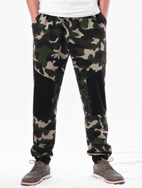Camouflage Panel Elastic Waist Casual Pants - ARMY GREEN M