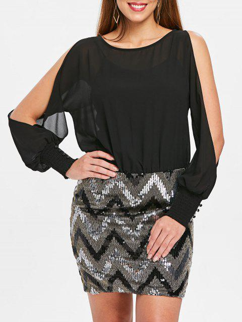 Slit Sleeve Chevron Sequins Short Blouson Dress - BLACK S