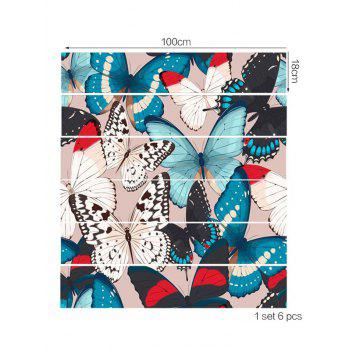 Removable Butterfly Print Stair Stickers - multicolor 6PCS:39*7 INCH( NO FRAME )