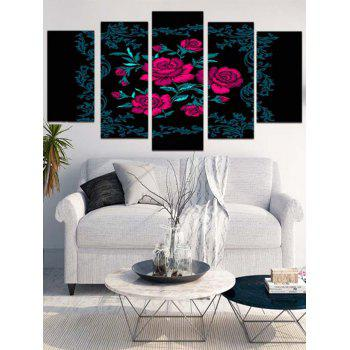 Rose Flowers Printed Split Wall Art Canvas Paintings - ROSE RED 1PC:12*31,2PCS:12*16,2PCS:12*24 INCH( NO FRAME )