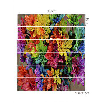 Colorful Flower Print Decorative Stair Stickers - multicolor 6PCS:39*7 INCH( NO FRAME )