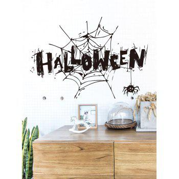 Halloween Spider Webs Printed Removable Wall Stickers - BLACK
