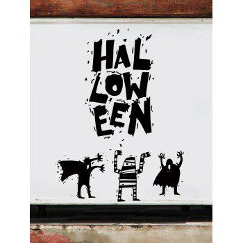 Halloween Printed Removable Wall Stickers - BLACK