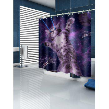Cat Universe Printed Waterproof Shower Curtain - multicolor W59 INCH * L71 INCH