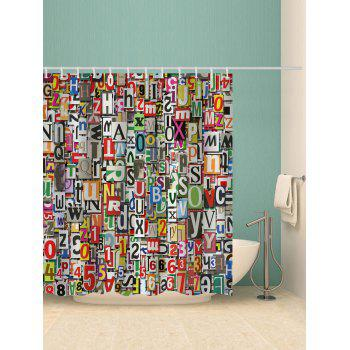 Letter Number Print Bath Curtain - multicolor W71 INCH * L71 INCH