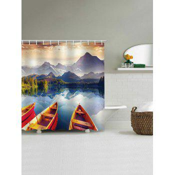 Boats Lake Print Water Resistant Shower Curtain - multicolor W65 INCH * L71 INCH