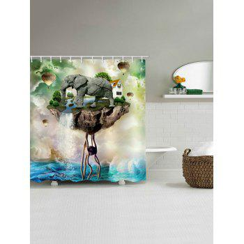 Elephant Island Print Waterproof Shower Curtain - multicolor W71 INCH * L71 INCH