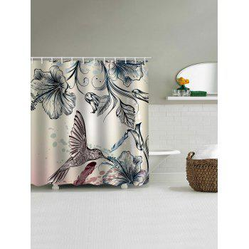 Chinese Birds Flower Print Shower Curtain - multicolor W71 INCH * L79 INCH