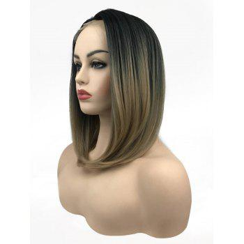 Medium Free Part Straight Bob Colormix Lace Front Synthetic Wig - multicolor