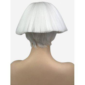 Short Full Bang Straight Bob Fluffy Broom Head Cosplay Synthetic Wig - WHITE