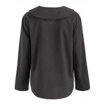 Long Sleeve V Neck Plain Shirt - BLACK 2XL