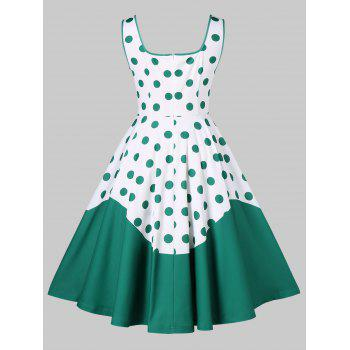 Square Collar Polka Dot 50s Dress - DEEP GREEN XL