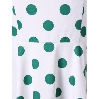 Square Collar Polka Dot 50s Dress - DEEP GREEN L