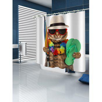 Cat Wearing Sunglasses Print Shower Curtain - multicolor W59 INCH * L71 INCH