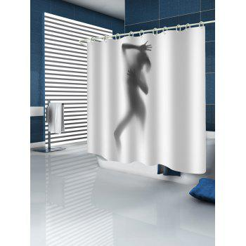 Abstract Figure Silhouette Shadow Print Shower Curtain - multicolor W59 INCH * L71 INCH