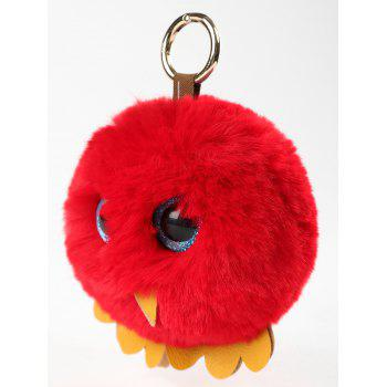 Plush Toy Cartoon Chick Key Ring - FIRE ENGINE RED