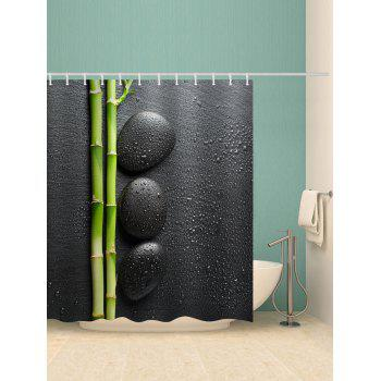 Bamboo Zen Stone Print Shower Curtain - multicolor W71 INCH * L79 INCH