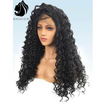 Long Free Part Deep Wave Lace Front Synthetic Party Wig - BLACK 20INCH