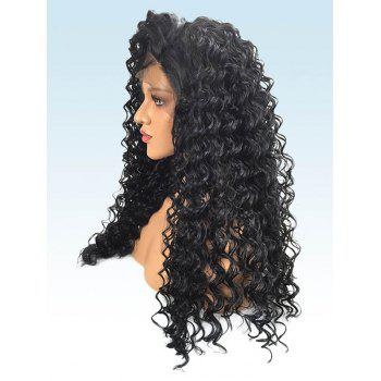 Long Free Part Deep Wave Lace Front Synthetic Party Wig - BLACK 26INCH