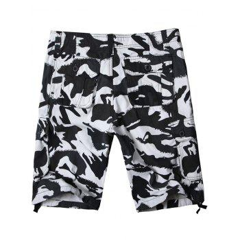 Zip Fly Camo Printed Six-pocket Cargo Shorts - SNOW CAMOUFLAGE 32