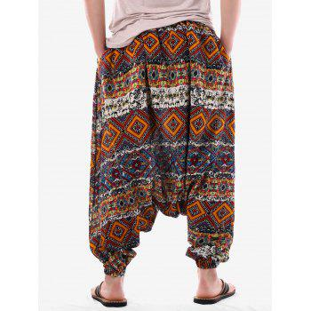 Tribal Geometric Print Harem Pants - multicolor XL