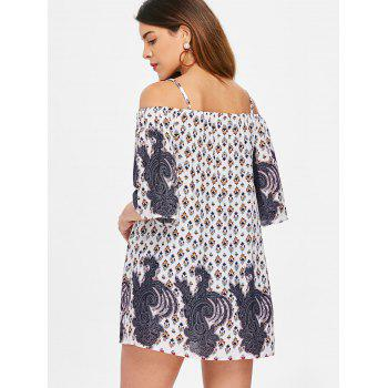 Bare Shoulder Three Quarter Sleeve Blouse - multicolor XL