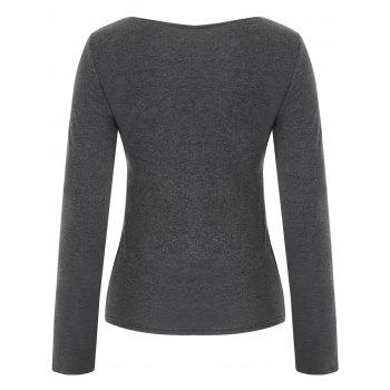 Long Sleeve Zipper Embellished Top - GRAY L