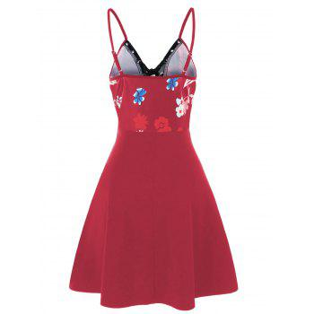 Spaghetti Strap Floral Lace Up Skater Dress - RED WINE XL