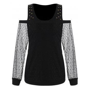 Cuff Sleeve Bare Shoulder Lace Overlay Blouse - BLACK 2XL