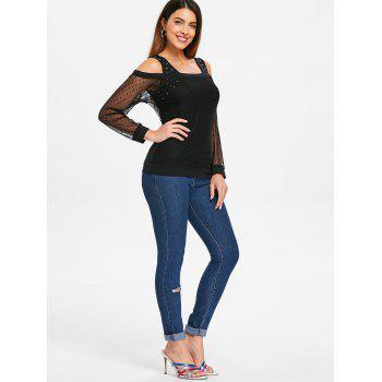 Cuff Sleeve Bare Shoulder Lace Overlay Blouse - BLACK L