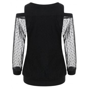 Cuff Sleeve Bare Shoulder Lace Overlay Blouse - BLACK XL